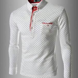 Fashion Polka Dots Men's Long Sleeve Polo Shirts