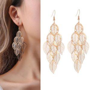 Women's Bohemian Leaves Shaped Drop Earrings