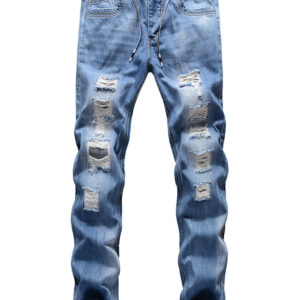 Hot Sale Holes Straight Leg Ripped Jeans
