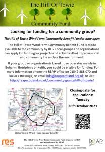 Hill of Towie Windfarm Application Form Deadline @ REAP Office | Scotland | United Kingdom