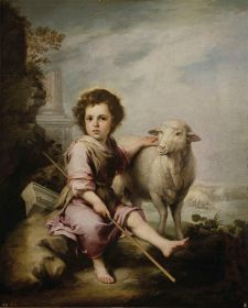 El Buen Pastor (The Good Shepherd), Bartolome Esteban Murillo, Ca. 1660. Oil on canvas. Room 017 In a landscape with classical ruins that allude to the defeat of paganism, the Christ Child tends a lamb. Murillo based this image on a print by Stefano della Bella (1610-1664), while making use of his outstanding ability to depict children to create one of the most effective depictions of the parable of the Good Shepherd.