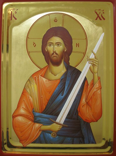 Jesus Christ with a Sword - gilded, polished