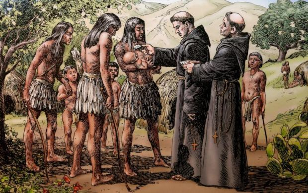 Sketch of baptism conducted by California mission friars displayed at Mission Basilica San Diego de Alcala