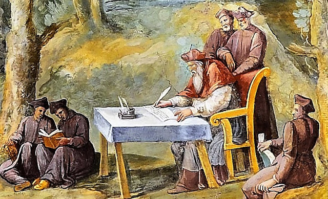 1600_Attributed to Girolamo Muziano, Peter Damian Writing for His Hermits_Italian, 16th Century_Vatican, Vatican Museums, Apostolic Palace, Map Rooms