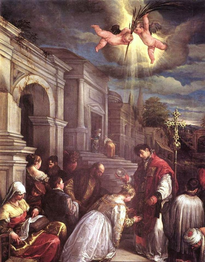 Saint Valentine baptizing St Lucilla, Jacopo Bassano