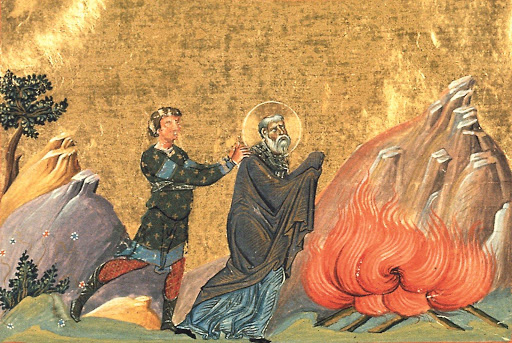 St Polycarp. Martyrdom of St Polycarp – Menologion of Basil II (Vatican)
