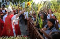 Cardinal Luis Antonio Tagle blesses the palms with holy water at the start of Palm Sunday Mass at the Manila Cathedral, March 23, 2018. ROY LAGARDE for CBCP News