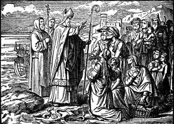 saint-patrick-blesses-irish-and-banishes-vector-19009461