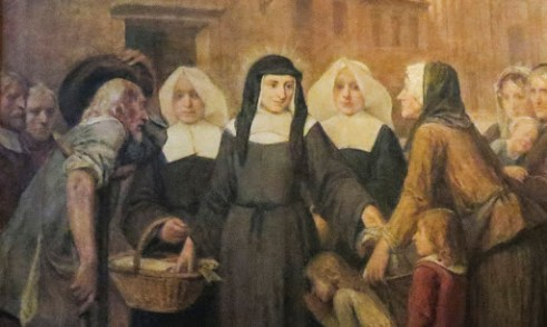 VMI Vincentian Heritage Tour: VMI Vincentian Heritage Tour: Saint Louise de Marillac shown in a painting at Church of Saint-Laurent Thursday, June 23, 2016, as the VMI cohort members toured Vincentian sites in Paris. The site is home to many artifacts hig