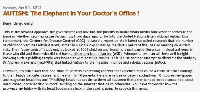 Mechler 3 vaccines cause autism blog post