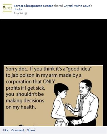 "Nothing says ""quality health care professional"" like an anti-vaccine meme"