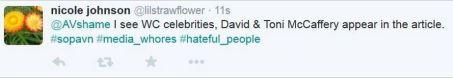 Holland 29 NJ tweet McCafferys media whores hateful people