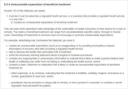 CBA 13 expectation of benefit 6.2.4 Guidelines for advertising