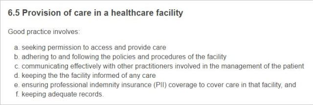 CBA 9 Code of Conduct 6.5 Provision of care in a Healthcare facility