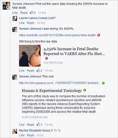 Serene Johnson 141 Cairns antivax midwife post AVA April 5 2016