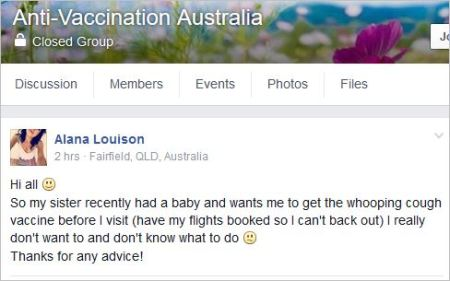 Serene Johnson 157 AVA March 19 2016 advice against WC vax