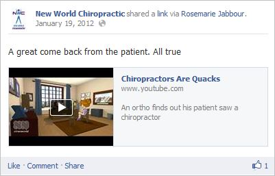 I added this because she posted it because she was attempting to convey that chiropractors of her calibre aren't quacks. And that's funny.