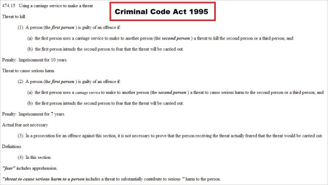 Criminal Code Act 1995 474.15 death threats