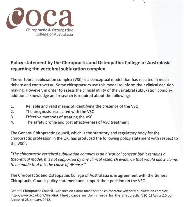 COCA 1 VSC statement