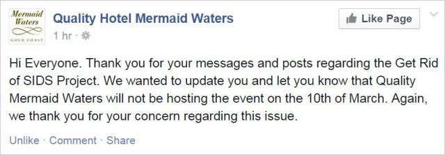 Tenpenny 32 Quality Hotel Mermaid Waters cancelled