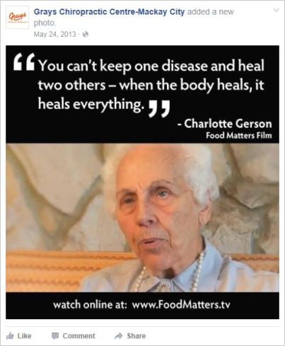 Le Coz 28 Gerson quote Food Matters