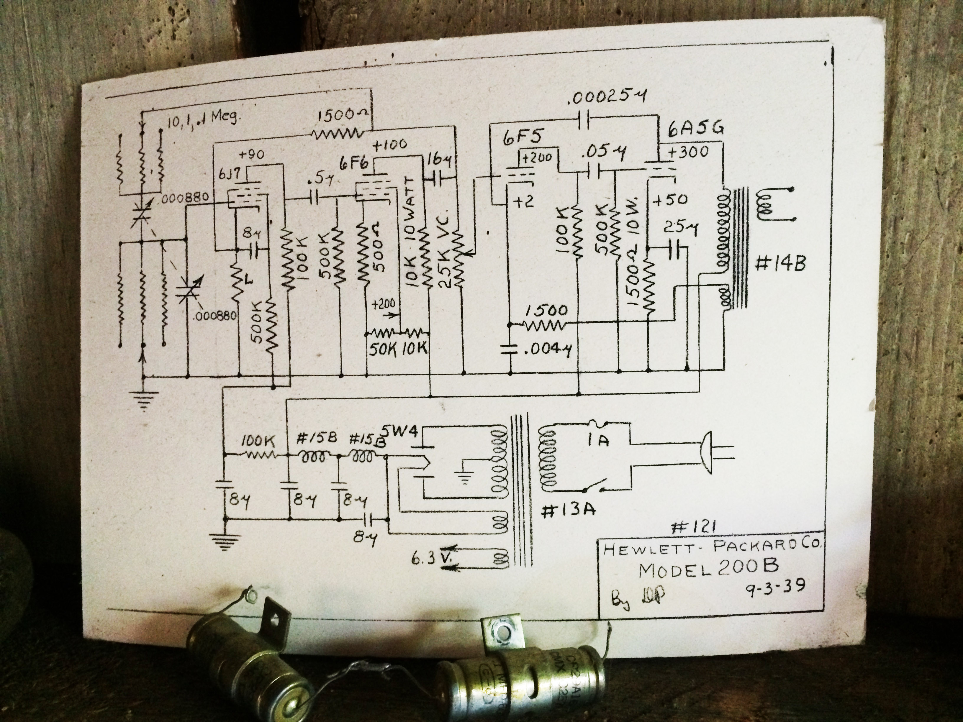Electrical Schematic Of The Hp 200b Audio Oscillator Initialed Dp