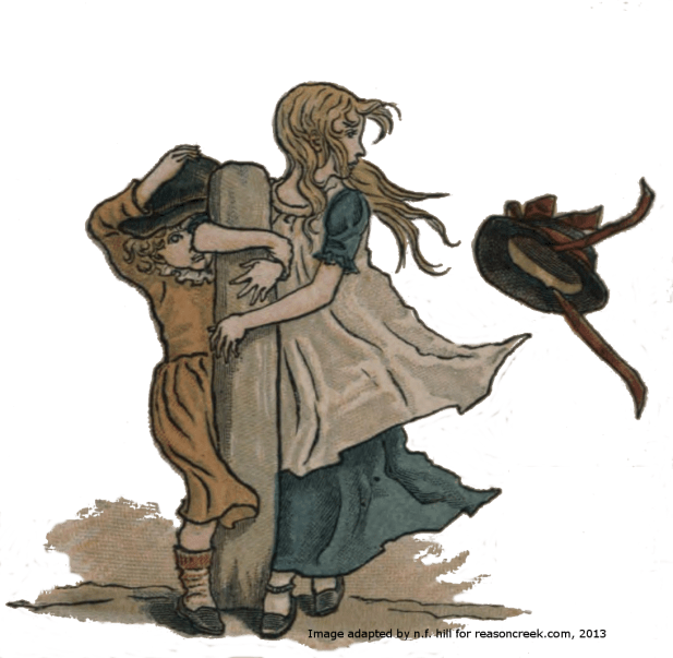 Kate Greenaway's illustration for March 1893 Almanack