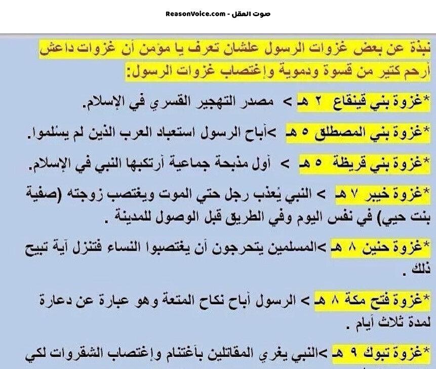 غزوات الرسول وما نتج عنها من تعاليم منحرفة