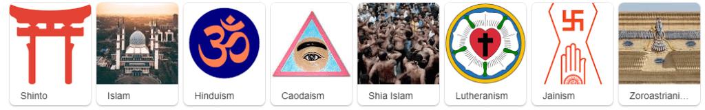 مقتطف لبعض الاديان
