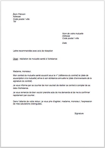 avis resiliation assurance lettre recommande lettre type