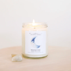 Shop ReAwaken | Moonstone Crystal Candle - Brings Good Luck | JaxKelly