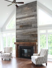 Barn Wood Ideas with Fireplace