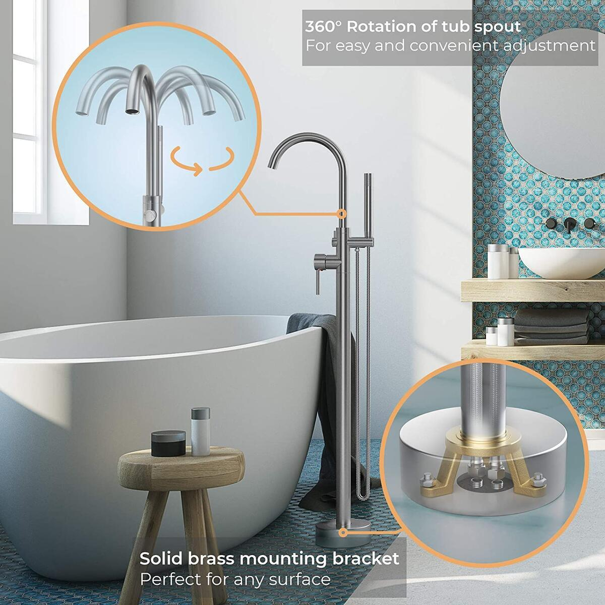 marbs home freestanding bathtub faucet with 360 spout brushed nickel freestanding tub filler brass bath tub faucet with hand shower high 6gpm flow
