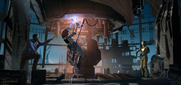 Rose, Finn, 3PO i R2 próbują uruchomić nadajnik na Coruscant, dzięki któremu nadadzą hologram Lei Organy