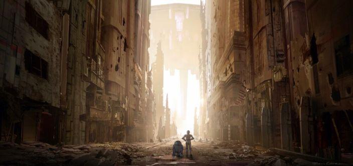 R2 i C-3PO wędrują przez zniszczone ulice Coruscant