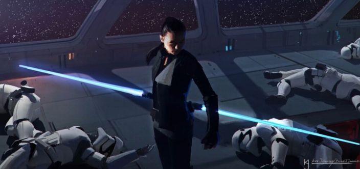 Rey z podwójnym mieczem (hybrydą jej laski i miecza Skywalkerów) na gwiezdnym niszczycielu