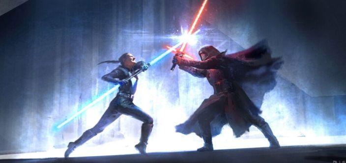Rey i Kylo walczą na szczycie świątyni Mortis (widoczna jest nowa maska Kylo)
