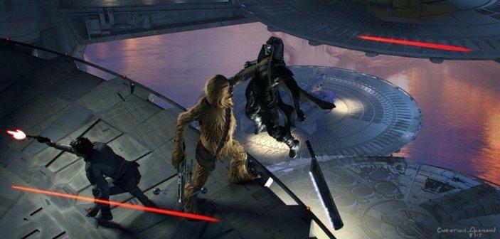 Chewie chwyta rycerza Ren, wyrzuca go w powietrze i strzela do niego jak do lecącej kaczki