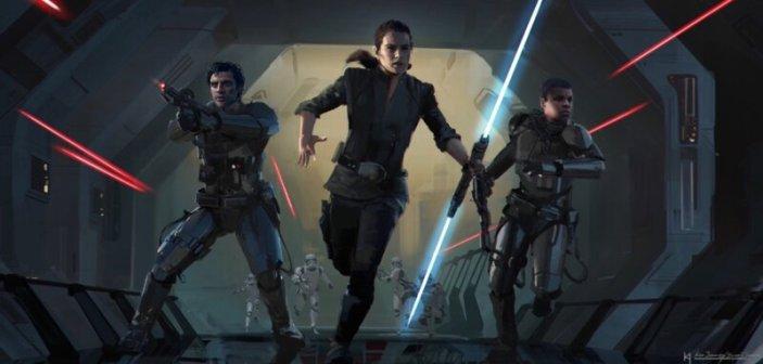Rey, Finn i Poe przebijają się przez pokład gwiezdnego niszczyciela Eclipse