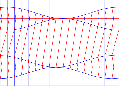 Crease pattern: Downhill diagonal shift