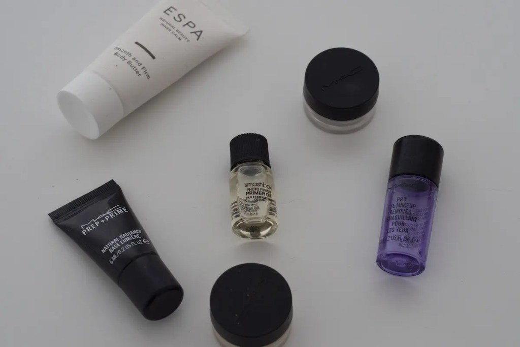 A range of sample sized cosmetic products