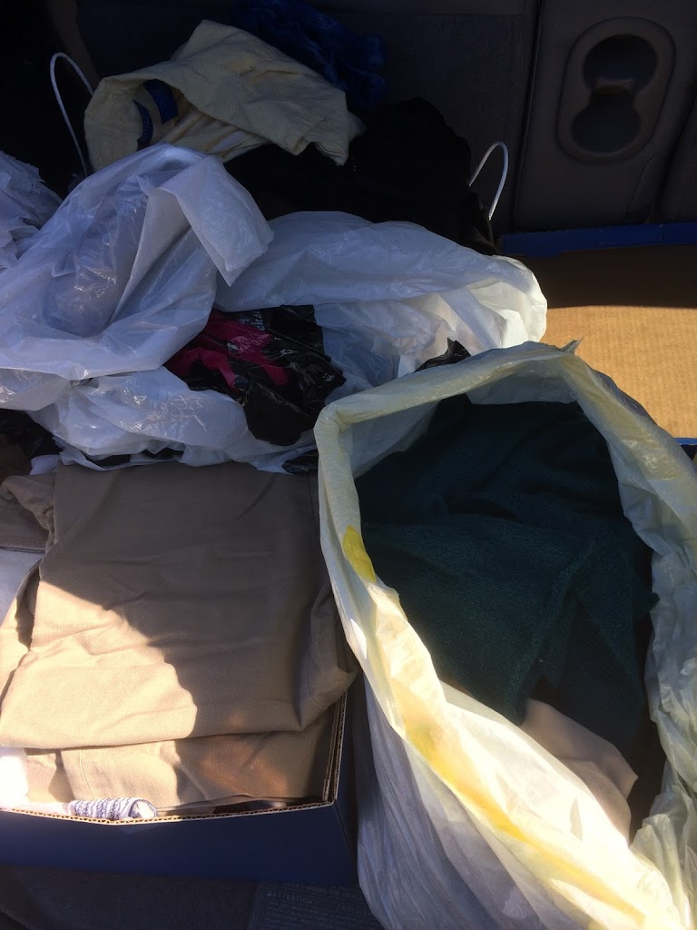 Old clothes in bags to donate