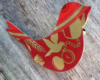 Red and Gold Dove Brooch