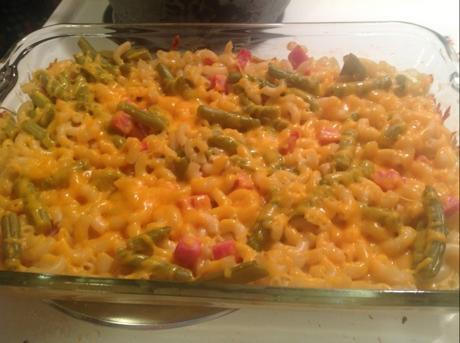 Mac & Cheese Ham Green Bean Casserole