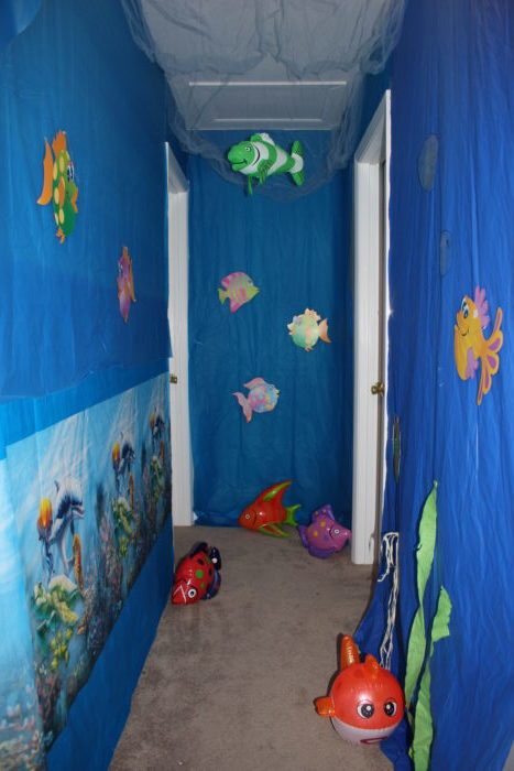 Submerged hallway decorations