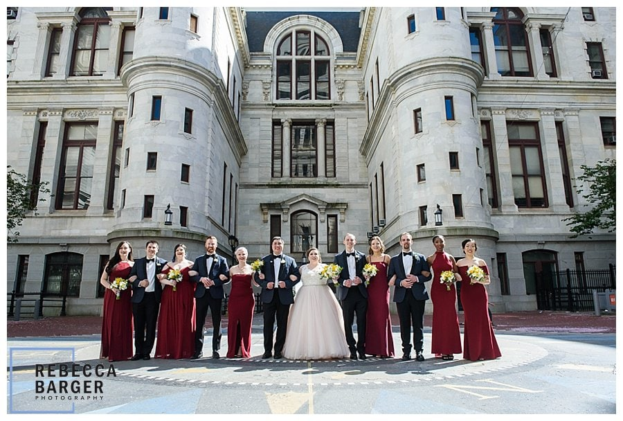 bridal party city hall philly, red bridal party