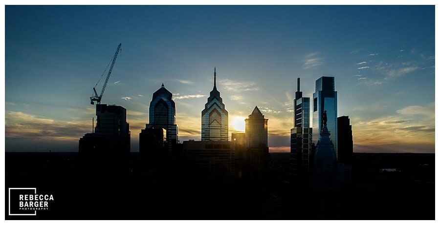 Philly skyline wedding