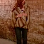 Fashion week, faux fur cape outfit of the week