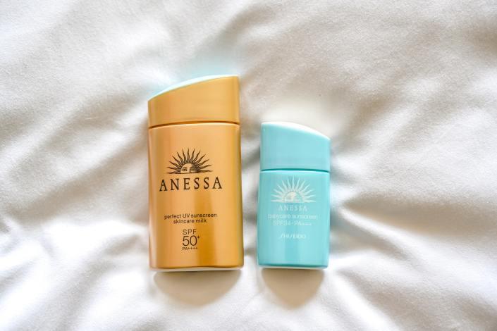 Example of sun cream, sun lotion, sunscreen, sunblock