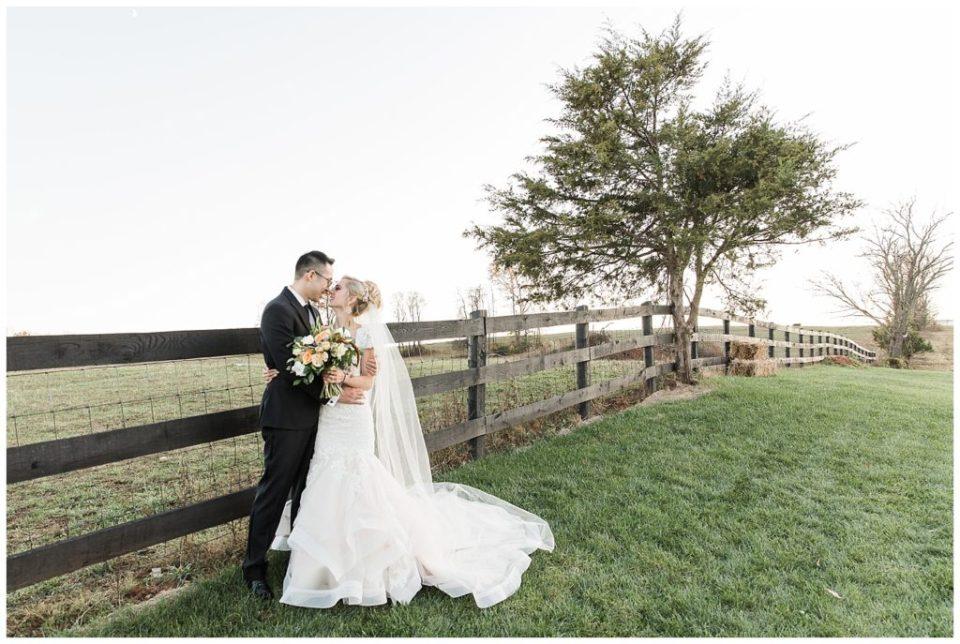 Bride and groom portrait. Outdoor.